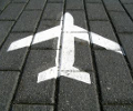 aeroplane symbol painted on the ground.